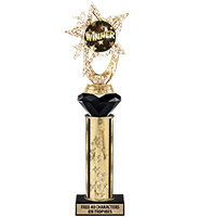 "13"" Gold Star Crystalline Holder Trophy"