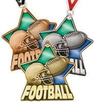 "2 1/4"" Football Stained Glass Medals"