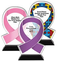 Acrylic Awareness Ribbon Trophies