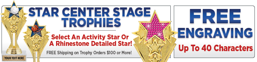 "6 1/2"" Star Center Stage Trophies"
