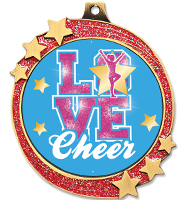 "2 1/2"" Red Glitter Shooting Star Medal"