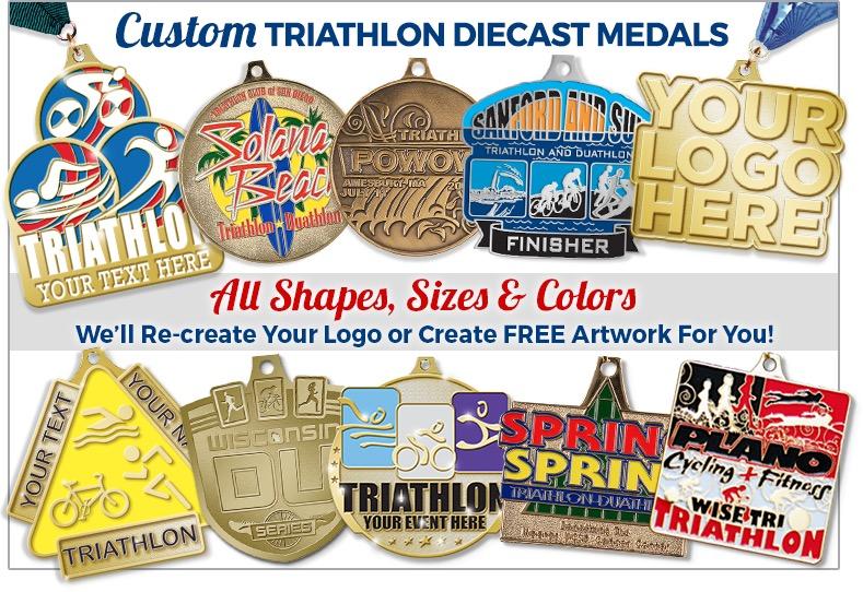 Custom Triathlon Diecast Medals