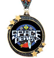 """2 1/2"""" Black Glitter Shooting Star Medal"""