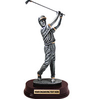 Male Golfer With Cap Sculpture