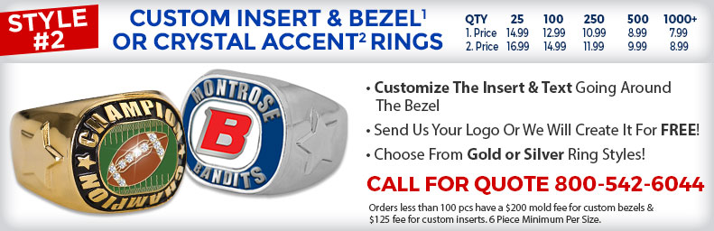 Custom Insert and Bezel or Crystal Accent Rings