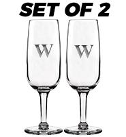 Set of 2 Monogram Champagne Flutes