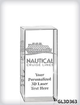 "Custom 3D Laser Crystal 3"" x 6"" x 3"""