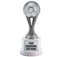 "7"" Silver Sport Iconz Trophy on White Round Base"