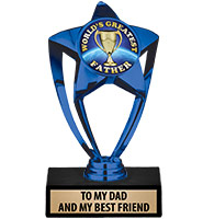 "6"" Blue Star Insert Trophy"