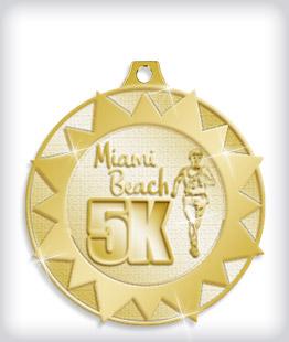 Shiny Gold Custom 5K Medals