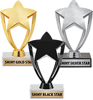 "6"" Gold, Silver & Black Star Trophies"