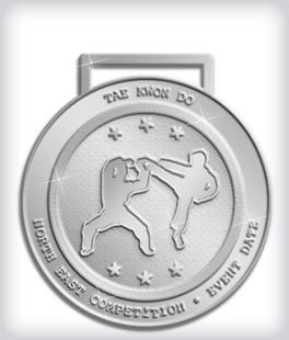 Shiny Silver Custom Martial Arts Medals