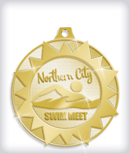 Shiny Gold Custom Swim Medals