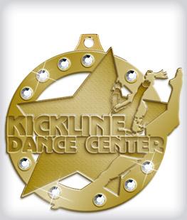 Antique Gold Custom Rhinestone Medals