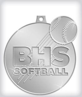 Shiny Silver Custom Softball Medals