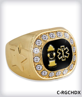 Custom Metal Inlay Gold Crystal Accent Ring