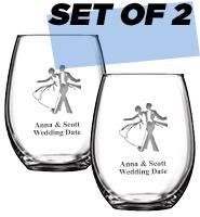 Set Of 2 Stemless Wine Glasses 15oz
