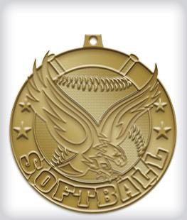 Antique Gold Custom Softball Medals:
