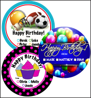 "2"" Personalized Happy Birthday Stickers"