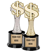 "8 1/4"" Gold & Silver Dollar Sign Deluxe Trophies"