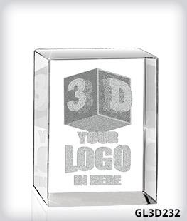 "Custom 3D Laser Crystal 2"" x 3"" x 2.5"""