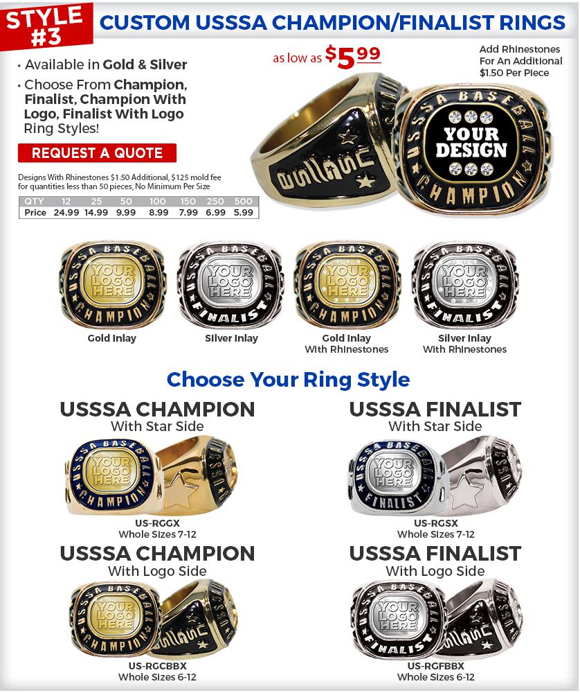 USSSR Champion Finalist Rings