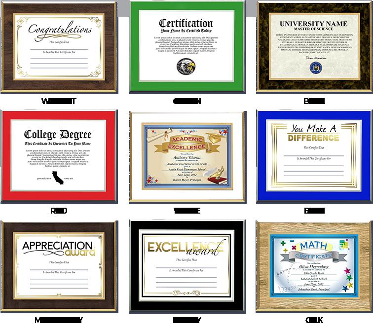 Laminated Plaques Laminated Certificates Award Laminations