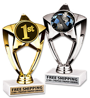 "6"" Gold and Silver Star Insert Trophies"
