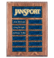 American Walnut Veneer Perpetual Plaque With Blue Plates