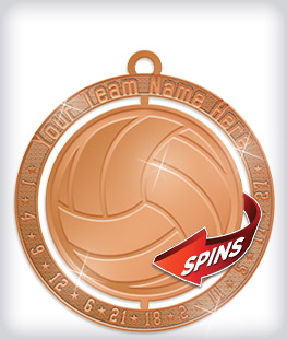Shiny Bronze Custom Spinning Medals
