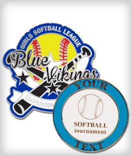 Custom Semi Cloissone Softball Pins