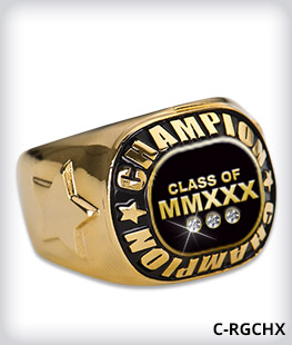Custom Metal Inlay Champion Ring