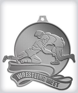 Antique Silver Custom Wrestling Medals
