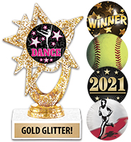 Gold Glitter Astral Star Insert Trophy