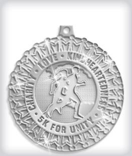 Shiny Silver Custom 5K Medals