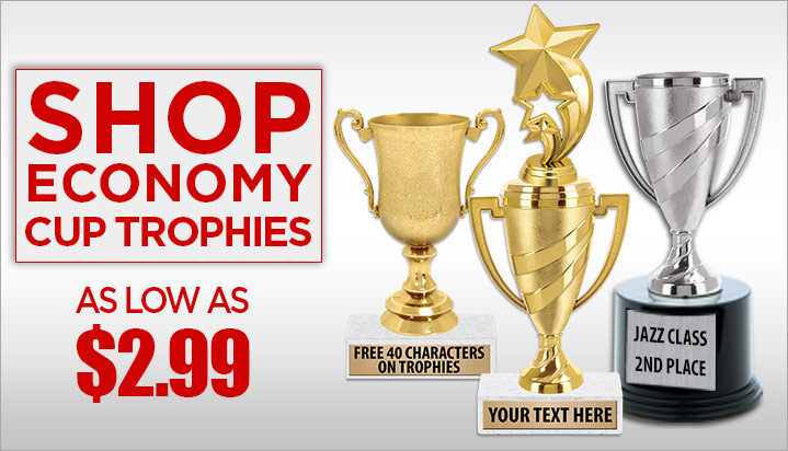6 Personalized Gold Swirl Cup Achievement Trophy On Black Base Crown Awards Gold Cup Trophies with Custom Engraving