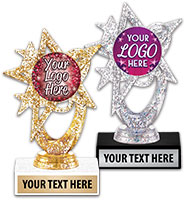 "6"" Astral Glitter Gold & Silver Custom Insert Trophies"