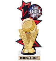 Three Star Backdrop Red Custom Insert Trophy