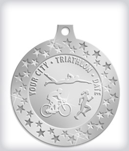 Shiny Silver Custom Triathlon Medals