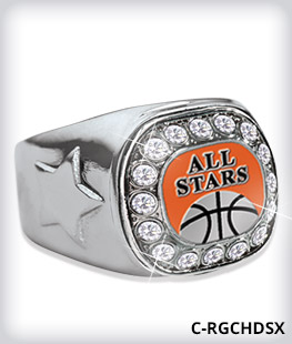 Custom Metal Inlay Silver Crystal Accent Ring