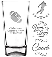Football Soiree Pint Glass 16oz