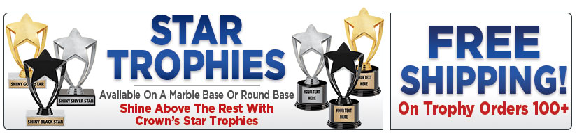 "8"" Gold, Silver & Black Star Participation Trophies"