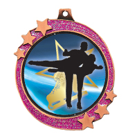 "2 1/2"" Pink Glitter Bronze Shooting Star Medal"